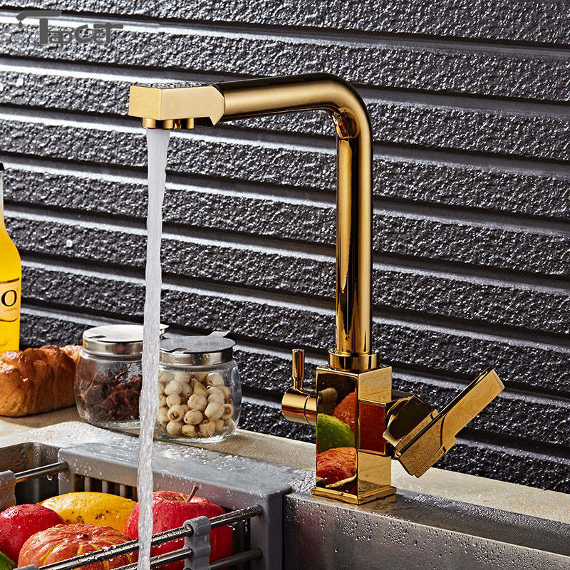 Brass Swivel Drinking Hot & Cold Water Faucet 3 Way Water Filter Purifier Golden Kitchen Faucets Chrome Single Lever Sinks Taps solid brass swivel 3 in 1 drinking water kitchen faucets robinet para torneira wels sink faucet mixer tri flow 3 way filter taps