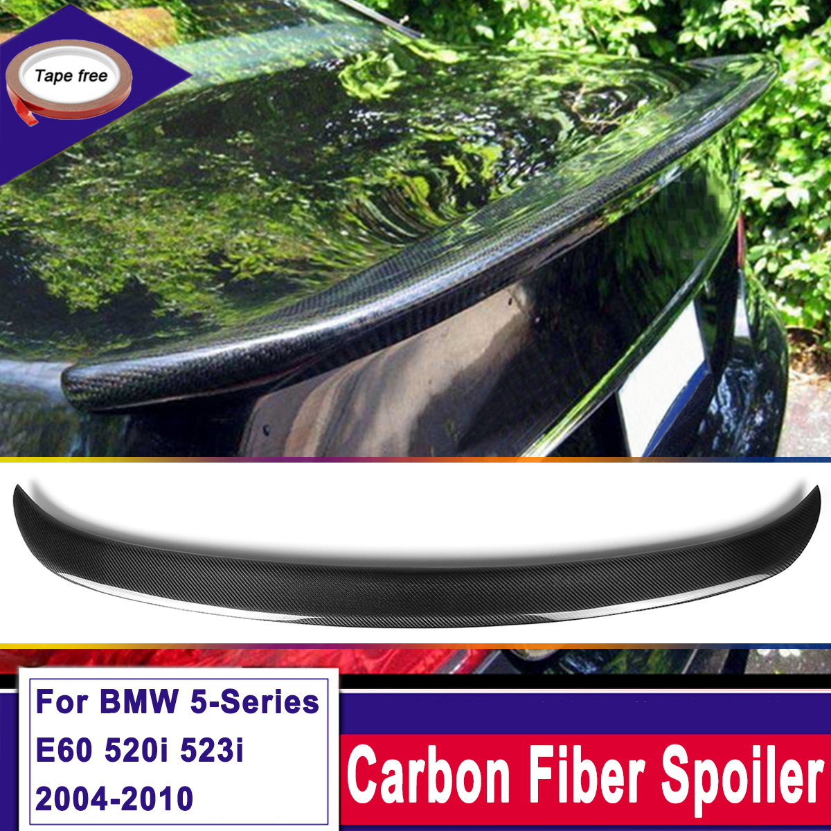 Carbon Fiber Rear Trunk Spoiler Wing For BMW 5-Series E60 520i 528i 523i 04-10