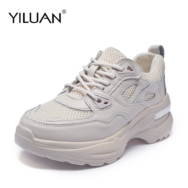 2019 Genuine Leather Shoes Women Sneakers Shoes Ins Breathable Lace Up Wedges Casual Shoes Ladies Platform Sports Woman Fashion