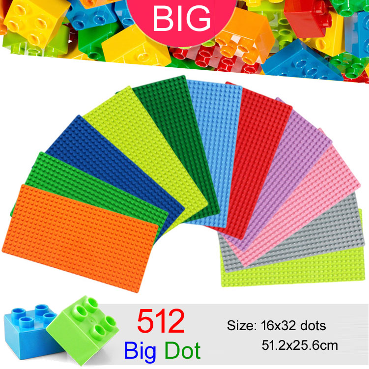 512 Big Dots 32x16 Big Baseplate Compatible With Duplo DIY Base Plate MOC Building Block Loose Brick 51*25cm big bricks building blocks base plate 51 25 5cm 32 16 dots baseplate diy bricks toy compatible with major brand blocks