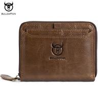 BULLCAPTAIN Brand Genuine Leather Men Wallets Vintage Casual Zipper Man Wallet Short Design Purse S Credit