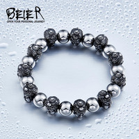 BEIER New Design Cheap Man S Stainless Steel Double Buddha Head Ball Bracelet Fashion Man S