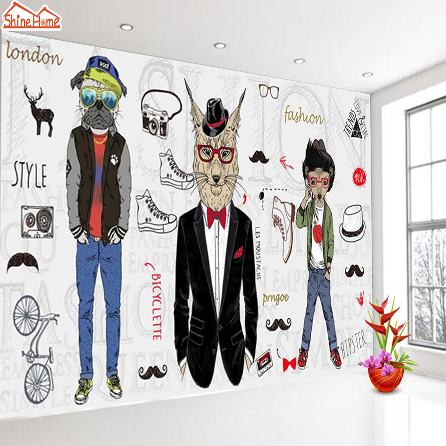 ShineHome-Fashion Cloth Shoe Shopping Cafe Bar Background Wallpapers Rolls 3d Room Wallpaper for Walls 3 d Livingroom Paper shinehome city building wallpaper black and white 3d murals for walls 3 d wallpapers for livingroom kids 3 d mural roll room