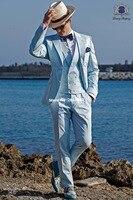New Arrival Groomsmen Notch Lapel Groom Tuxedos Baby Blue Men Suits Wedding Best Man Blazer ( Jacket+Pants+Tie+Vest ) C98