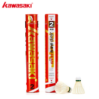12Pcs KAWASAI Professional Goose Feather Shuttlecock for Competition White Badminton Ball Tournament Series Team 2 Durable