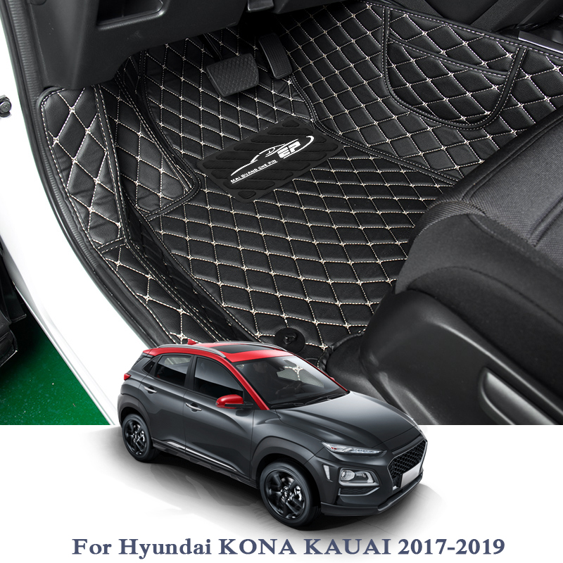 Car Styling Car Floor Mat For Hyundai Kona Kauai Tucson 2015-2018 LHD Auto Foot Pad Automobile Carpet Cover Internal AccessoriesCar Styling Car Floor Mat For Hyundai Kona Kauai Tucson 2015-2018 LHD Auto Foot Pad Automobile Carpet Cover Internal Accessories