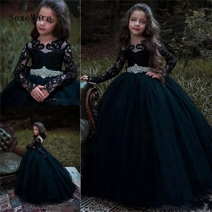 2018 Black Long Sleeves Flower Girls Dresses For Weddings Lace Applique with Crystal Sash Princess Kids Birthday Pageant Gown цены