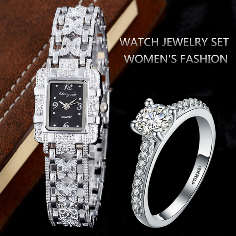 Luxury Rhinestone Bracelet Watches Women Silver Wrist Watch with Ring Ladies Quartz Clock Hour saat relogio feminino reloj mujer new luxury rhinestone watch women watches ladies watch girl cute bracelet watches hour montre femme relogio feminino reloj mujer
