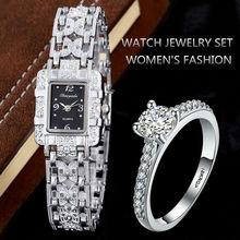 Montre de luxe en strass pour femmes, montre Bracelet à Quartz, argent, avec anneau, horloge