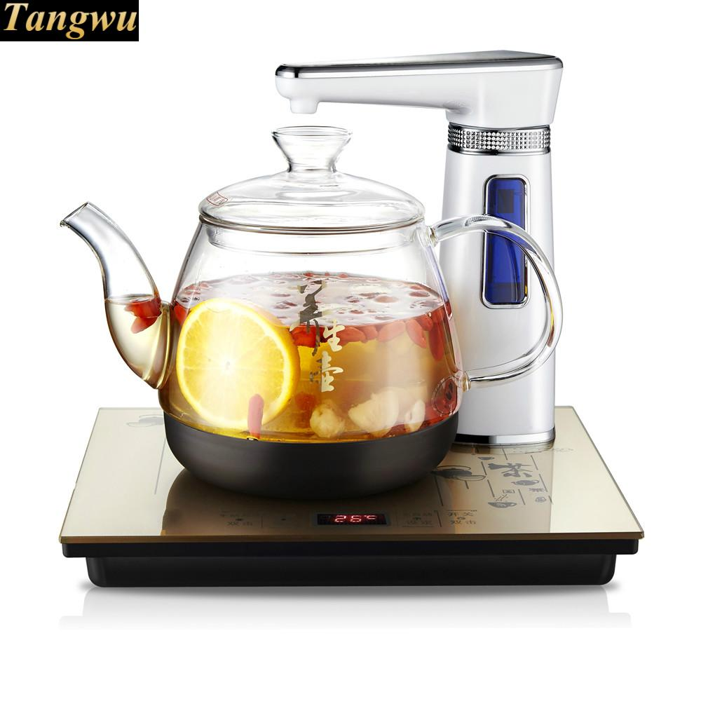 Fully automatic water electric kettle intelligent boiling bubble teapot insulation glass fully automatic water kettle electric glass water ketting kettle tea set