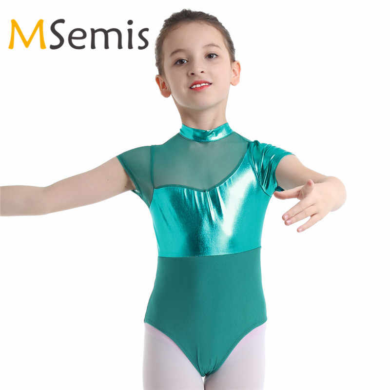4ca17116313 Kids Girls Gymnastic Swimsuit for Dancing Ballet Leotard Dance Leotard  Girls Mock Neck Shiny Metallic Mesh