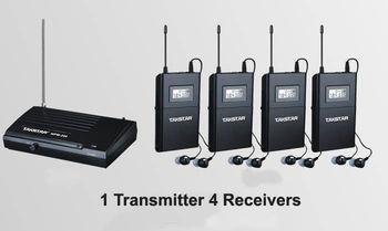 Takstar WPM-200 Wireless Monitor System UHF In-Ear Wireless Headphones & Ear 4 Receivers