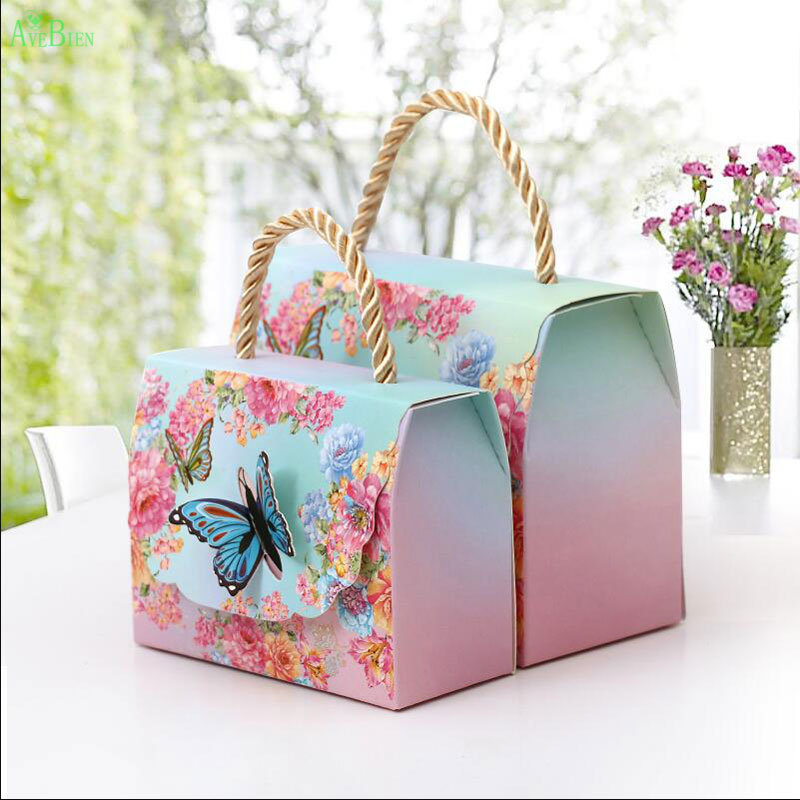 AVEBIEN 20pcs Gift Bags with Handles Butterfly Flowers Dessert Paper Candy Boxes Wedding Decoration Marriage Beautiful Gift Wrap
