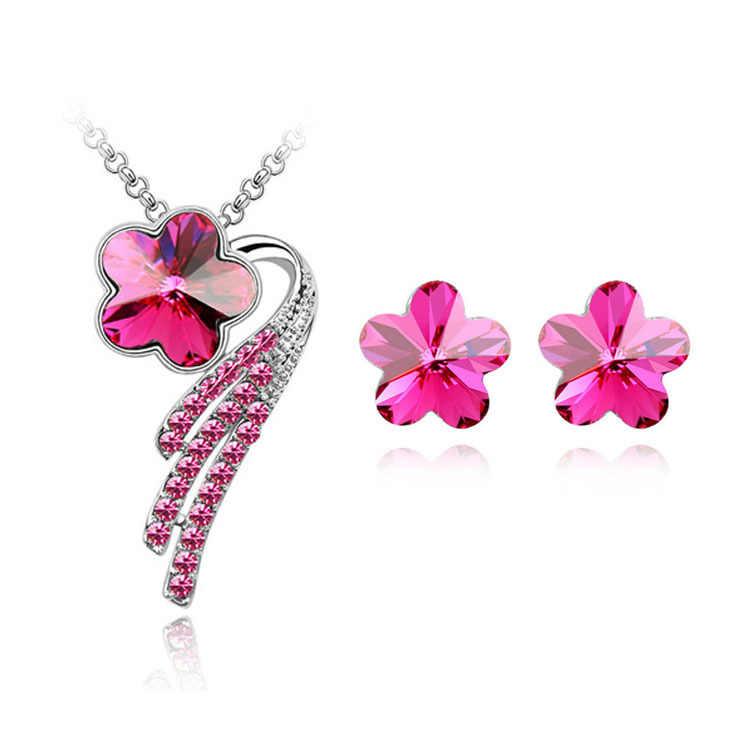 Stern Schmuck Neue Mode Halsketten Für Frauen 2015 Legierung Metall Jewerly Sets Blume Kristall Stud Ohrring