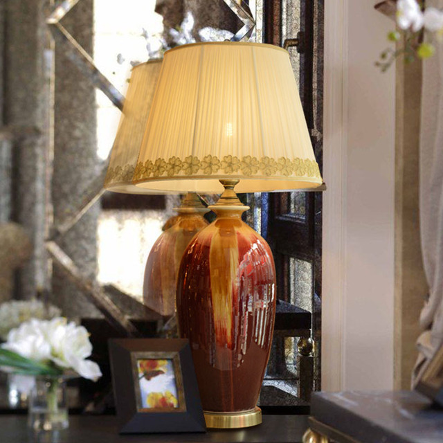 American Ceramic Table Lamp Bedroom Bedside Lamp Red Kiln Changing ...