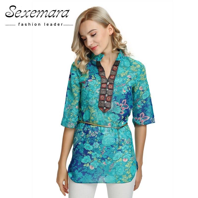 2018 Sommar Kvinnor Skjorta Blus Stil Mode Chiffon Halv Ärm Plus - Damkläder - Foto 2