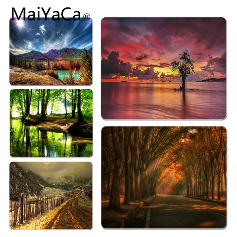 MaiYaCa Natural scenery Trees and lake Customized laptop Gaming mouse pad Size for 20X25cm and 25X29cm Gaming Mousepads