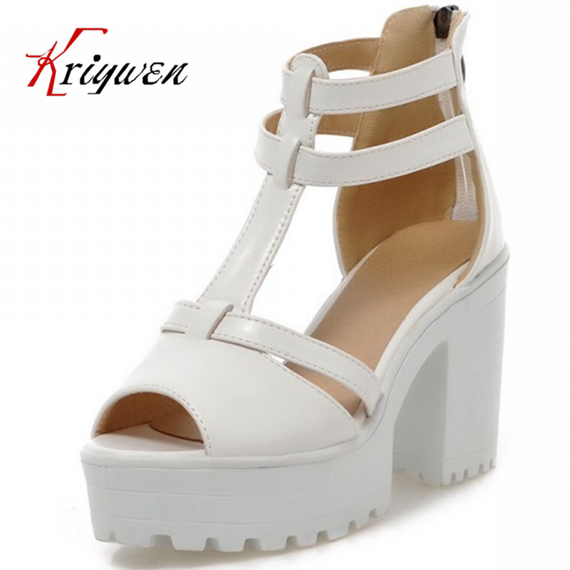 ФОТО 3colors BIG size 34-43 summer thick high-heeled shoes PEEP toe T-strap Gladiator utral high heels pumps white bottom sandals