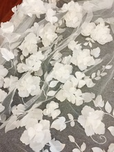 1 Yard 3D Full Blossom Flower Tulle Lace Fabric in Blush Off White , Soft Wedding Gown Bridal Dress Prom