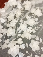 1 Yard 3D Full Blossom Flower Tulle Lace Fabric in Blush Off White , Soft Tulle Wedding Gown Bridal Dress Prom Dress Fabric