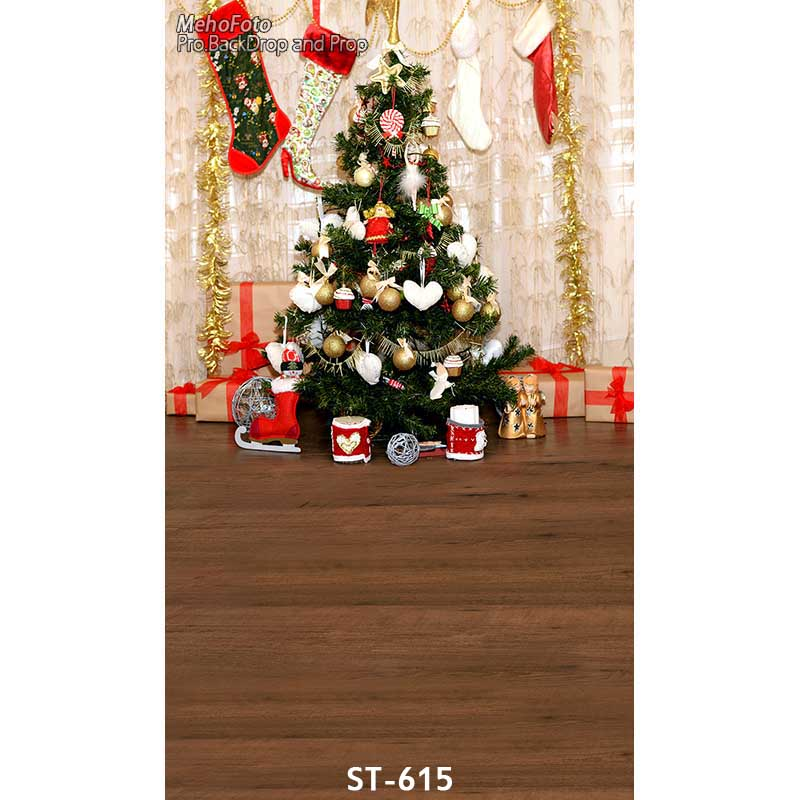 Christmas background vinyl photography backdrops Computer Printed christmas fire place tree and Gift box for Photo studio ST-615 white 3d decorations xmas tree hall fireplace room backdrops vinyl cloth computer printed christmas photo studio background