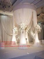 Регулируемый белый 3 м Tall Double круг двойной вертикально свадьбы трубы и шифон драпировка Pavilion для свадьбы арки, хупа