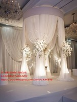 adjustable white 3m tall double circle DOUBLE upright of wedding pipe and Chiffon drape pavilion for wedding arch, chuppah