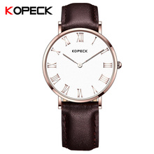KOPECK 6mm Ultra Slim Ladies Wrist Watch Sapphire Crystal Glass Leather Strap Girls Clock Simple Fashion Women's Watches 2017