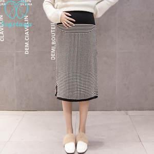 Womens Maternity Pencil Skirt Overp Elastic Panel Pregnancy 066p