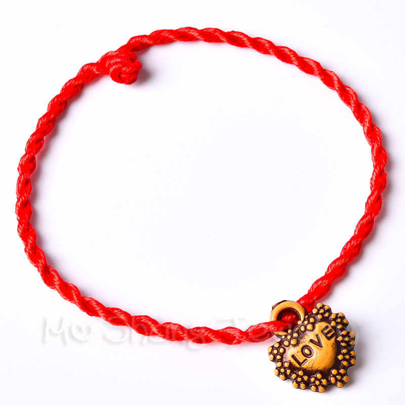 Fashion Peach Wood Red Rope Chain Handmade 12 Styles Red Rope Lucky Bracelets For Women Men Gift For Lover Couple Gift