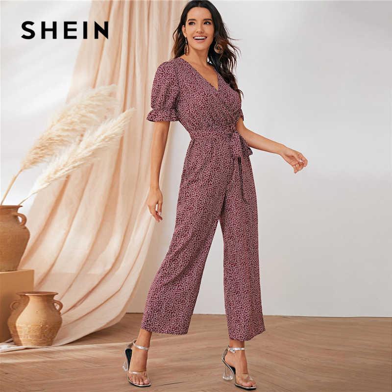 SHEIN элегантный комбинезон с широкими штанинами и поясом спереди, с цветочным принтом, для женщин, лето, осень, короткий рукав, высокая талия, v-образный вырез, комбинезоны в стиле бохо