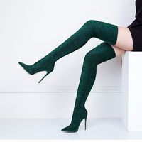 2018 New Fashion Glitter Fabric Women Stretch Thigh Boots Sexy Pointy Toe Ladies Over The Knee High Heel Boots Socks Boots