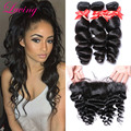 8A 13*4 Lace Frontal With Bundles Malaysian Unprocessed Hair 3 Wefts Loose Wave With Frontal Middle Free 3 Part Lace Frontal