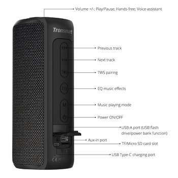 tronsmart t6 plus bluetooth speaker with ipx6 waterproof and power bank function