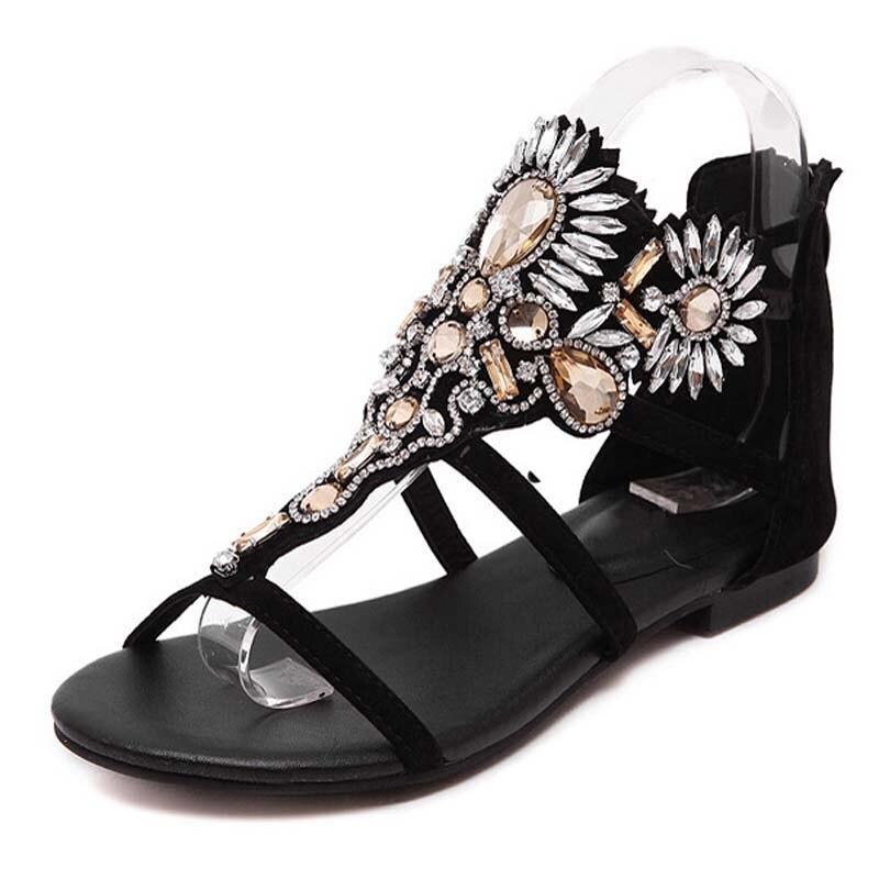 Flats As Mujeres Flops Sandalias as On Slip Moda Gladiador 2017 40 Casual Tamaño Rhinestone Photo 35 Flip Verano Zapatos Photo Mujer Cristal q7Uf6