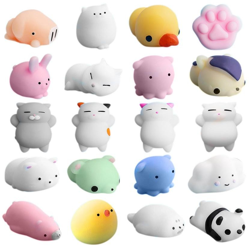 20pc/lot different models Mochi antistress ball Mini Squeeze Squishy Kawaii doll Squeeze Stretchy Animal Healing Stress kids toy