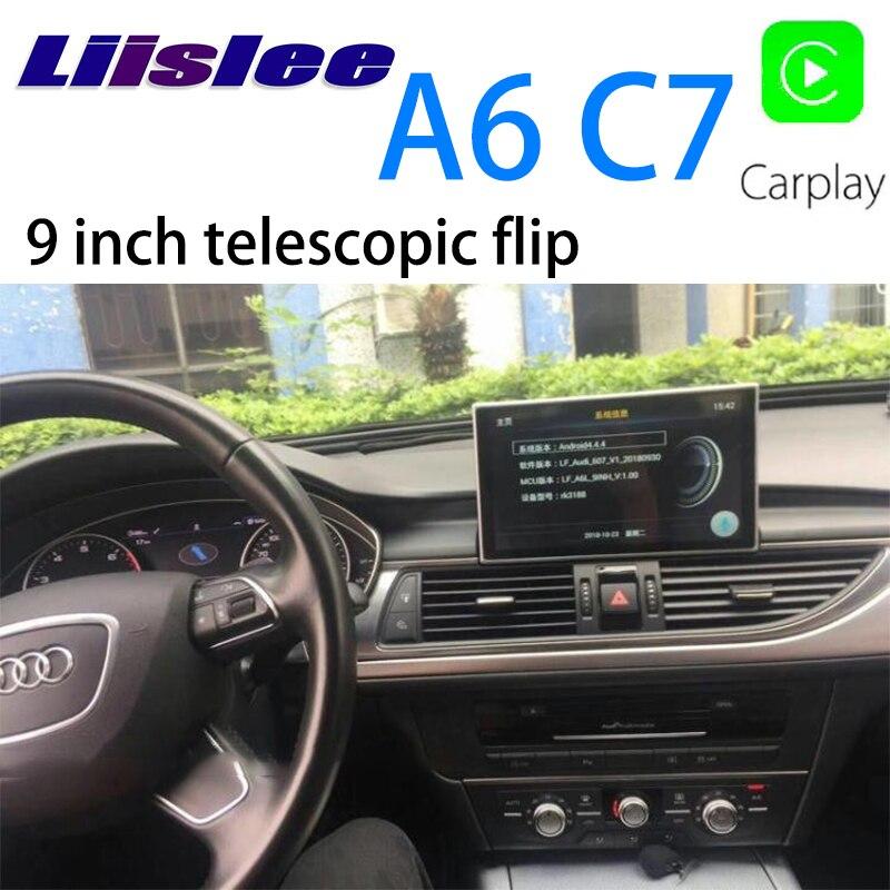 LiisLee Car Multimedia GPS Audio Radio Stereo Per Audi A6 C7 4g 2012 ~ 2018 Originale Stile di Navigazione Telescopico schermo di vibrazione NAVI