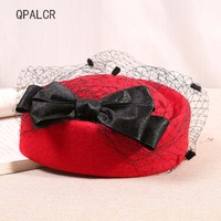 QPALCR Elegant Berets Wool Felt Fedoras Hats For Women Veil Pillbox Hat Cocktail Party Wedding Red Hat Winter Female Church Cap