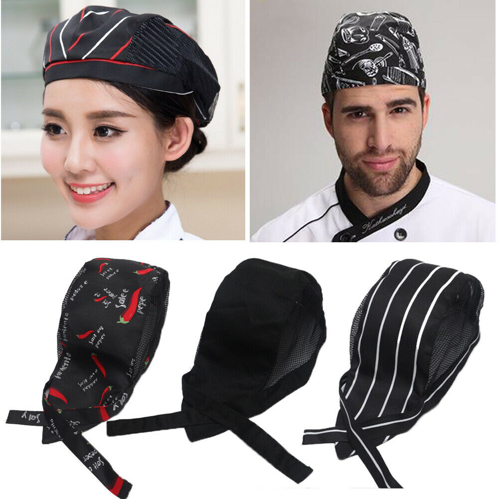Men Women Mesh Patchwork Chef Restaurant Kitchen Cooking Work Wear Hats Beret Hotel Bakey Cafe Waiter Breathable Cap 56-58cm