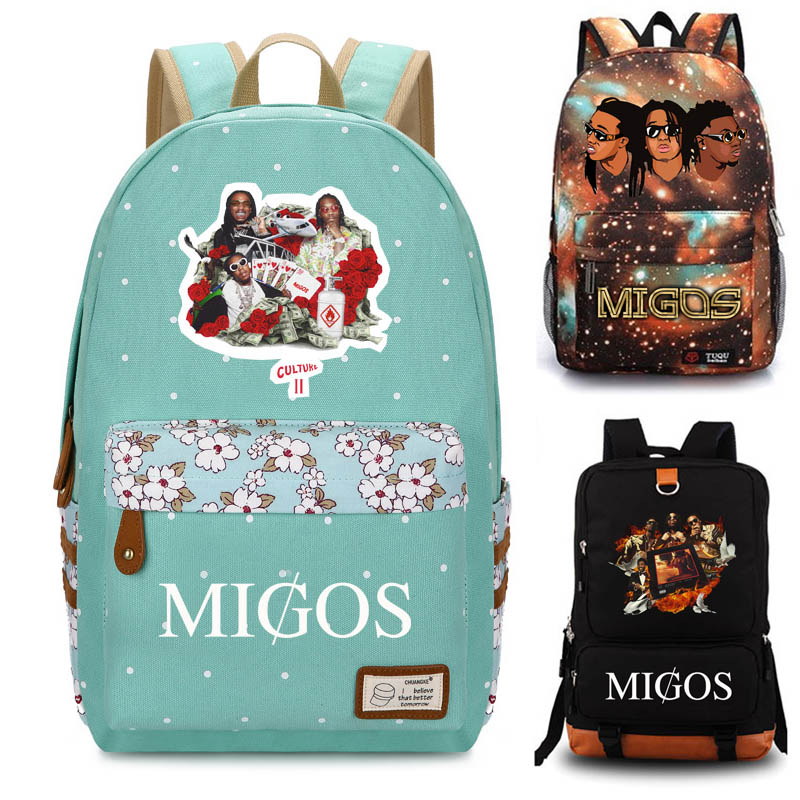 Migos school bag student school bag Notebook backpack Daily backpack