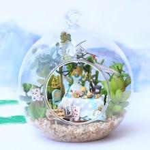 DIY Doll House Miniature Dollhouse 3D Handmade Casa Model Toys For Children Glass Ball Hemp Rope Christmas Gift Toys B011 #E