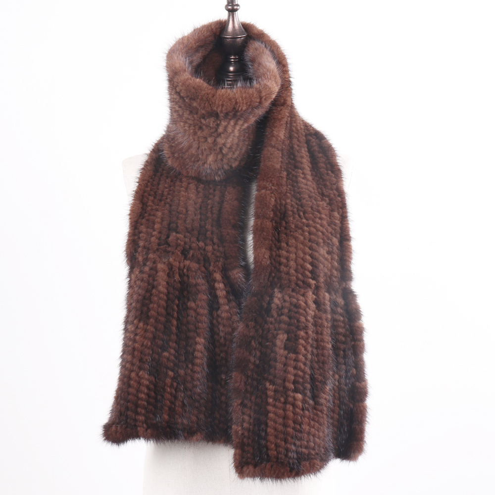 Image 5 - 2019 New Arrive Winter Autumn Lady Fashion Mink Fur Scarf Knitted Real Mink Scarves 170X15CM Warm Elegant Women Fur Muffle-in Women's Scarves from Apparel Accessories on AliExpress