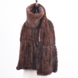 Image 5 - 2020 chegada nova inverno outono senhora moda vison pele cachecol de malha real vison peles cachecóis 170x15cm quente elegante muffle de pele feminina