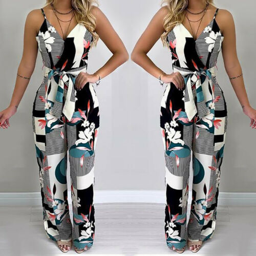 Fashion Women Summer Casual Sleeveless Strap Jumpsuit Loose Print Wide Leg Pants Suit Playsuit