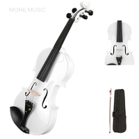 White/black Violin 1/8,1/4,1/2,3/4,4/4 Violin Fiddle 4 String Instrument basswood Both Beginner Top Quality V001