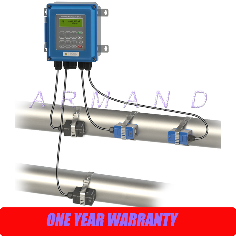 New generation Digital Wall Mounted Clamp On Ultrasonic Water <font><b>Flow</b></font> Meter Flowmeter with Heat Meter TUF-2000B DN50-DN700mm