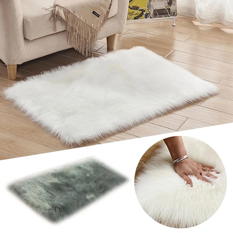 Dekorasi Rumah Mewah Empat Persegi Panjang Persegi Buatan Kulit Domba  Hangat Fluffy Karpet Bulu Putih Karpet Shaggy Rambut Panjang Tikar Ruang  Tamu|Karpet| - AliExpress