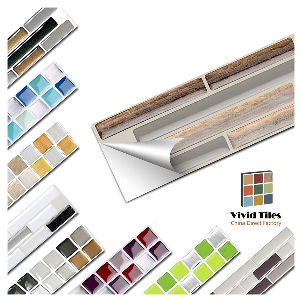 Vividtiles 6-Sheet Wood Effect Stickers Self Adhsive Decoration Wallpaper 3d Bathroom & Kitchen  Waterproof Mosaic Tile