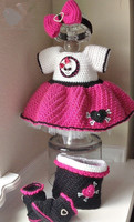 crochet baby dress set as picture show