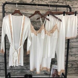 Image 4 - ZOOLIM Mulheres Conjuntos de Pijama com Calça 5 Peças de Cetim Sleepwear Pijama Salão Sono Pijama de Seda Bordado com Almofadas No Peito